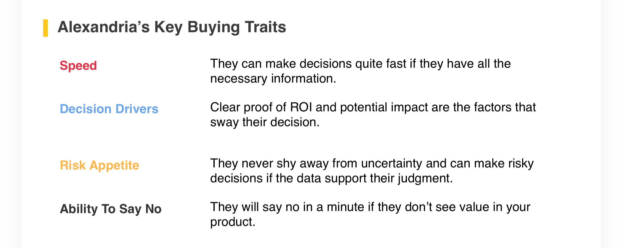 Alexandria's Key Buying Traits