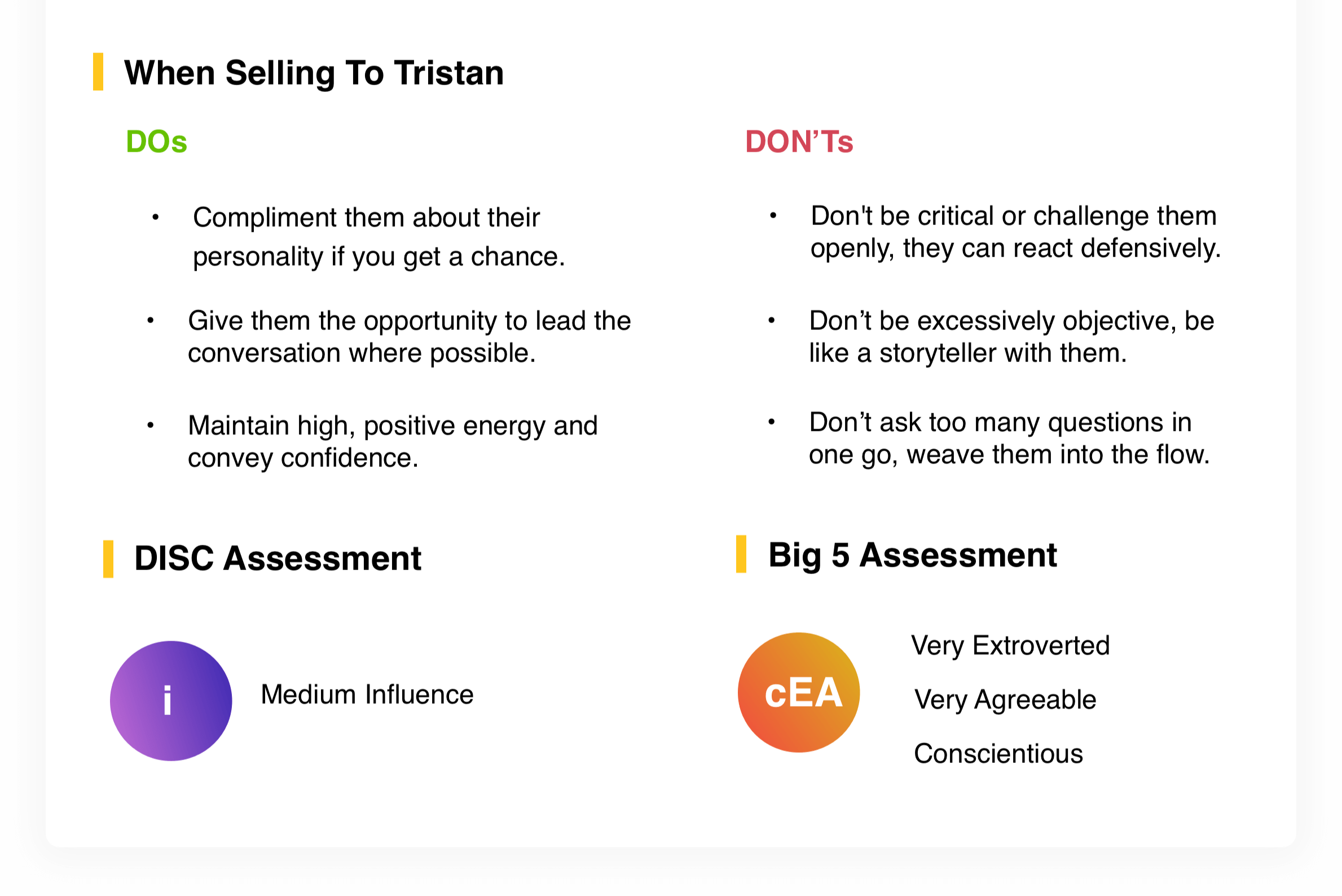 When Selling To Tristan