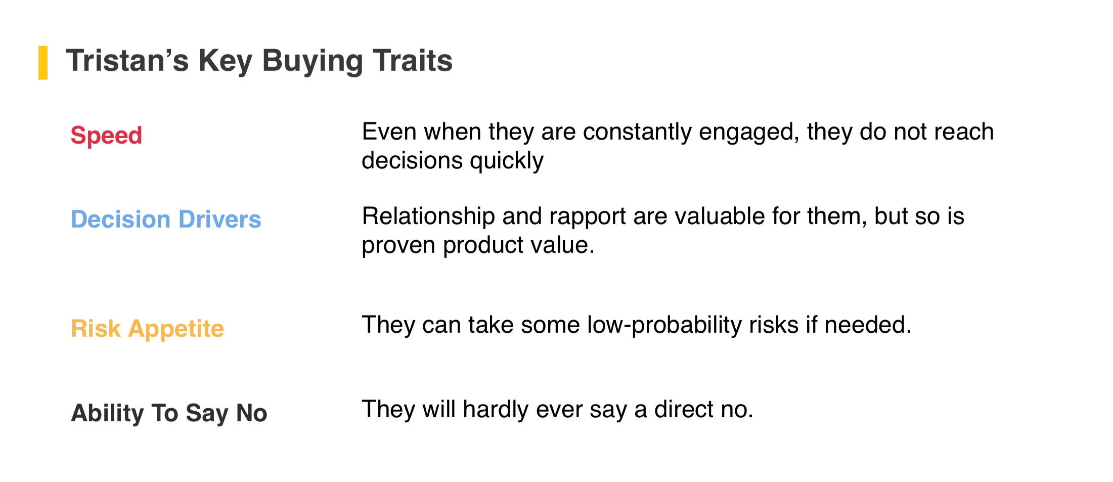 Tristan's key buying traits